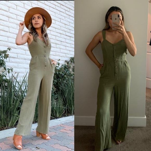 Sugarlips Pants - Green Linen Jumpsuit